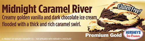 Midnight Caramel River: Creamy golden vanilla and dark chocolate ice cream flooded with a thick and rich caramel swirl!