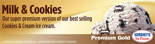 Milk and Cookies: Our super premium version of our best selling Cookies and Cream ice cream!