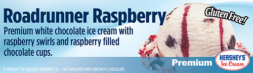 Roadrunner Raspberry: Premium white chocolate ice cream with raspberry swirls and raspberry filled chocolate cups!