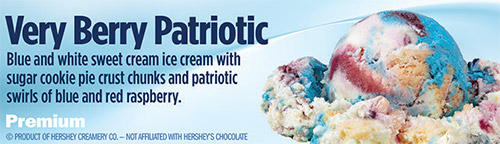 Very Berry Patriotic: Blue and white sweet cream ice cream with sugar cookie pie crust chunks and patriotic swirls of blue and red raspberry!